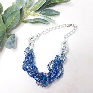 Blue Multi-Strand Beaded Silver Link Necklace